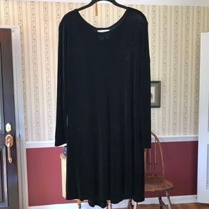 Flax Black Dress M Stretch Long Sleeve Lagenlook